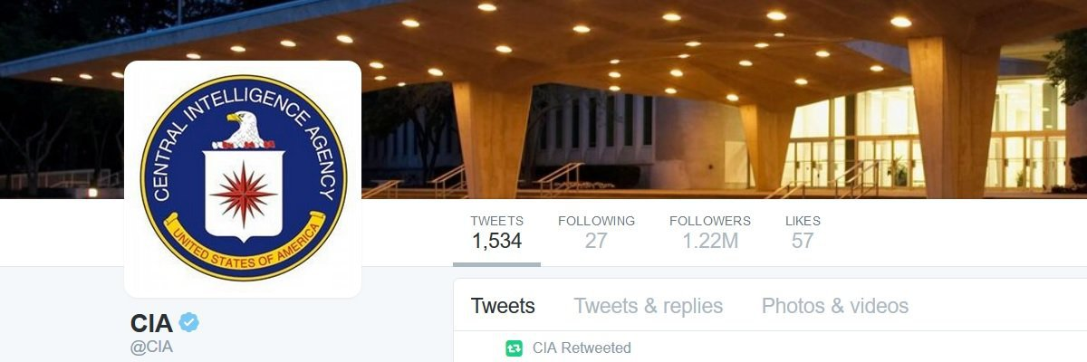 Welcome to Twitter, @CIA. Now start using email.