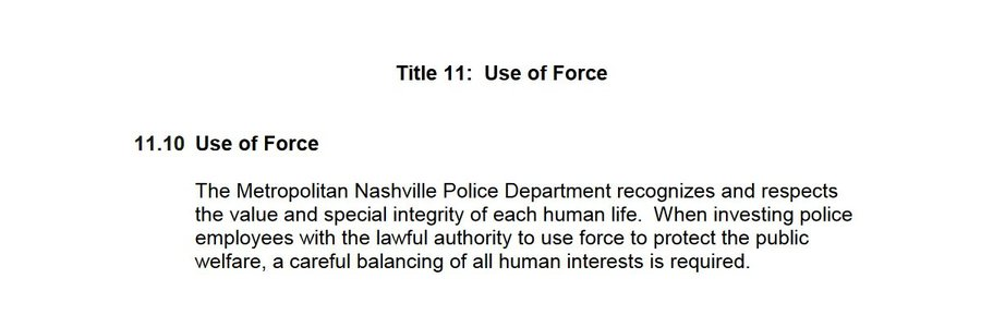 Read Nashville Police Department's Use of Force Policy