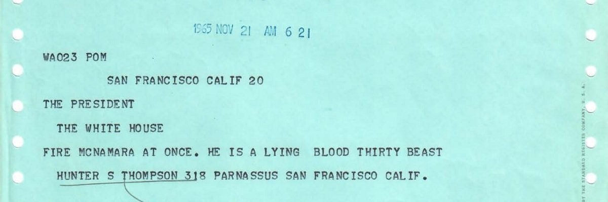 Read Hunter S. Thompson's correspondence with LBJ on their original letterhead