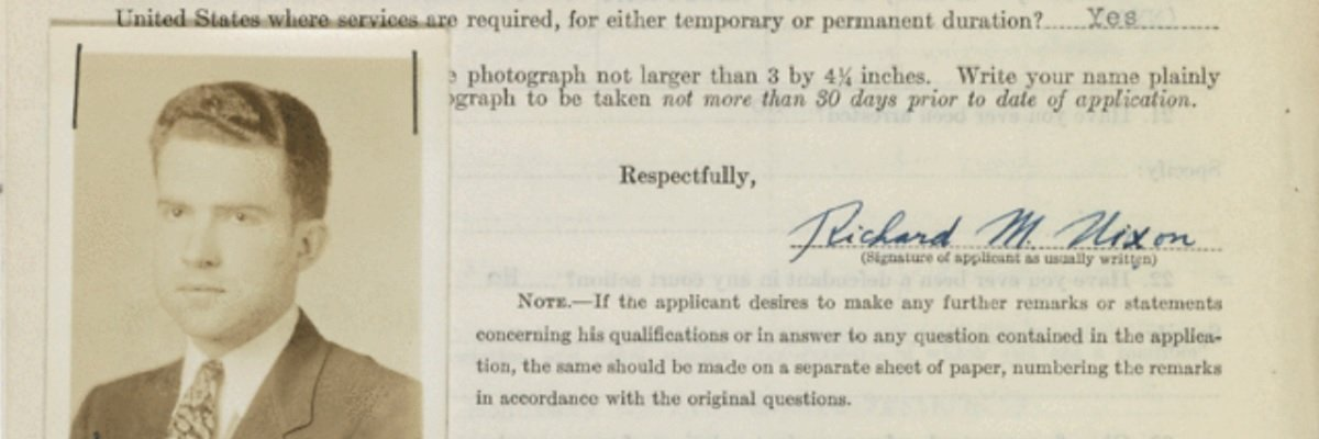 Why was Richard Nixon's FBI application rejected?