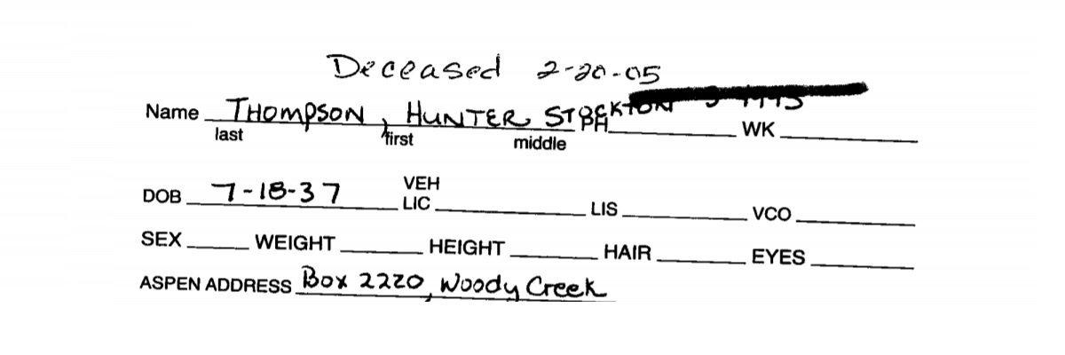 R.I.P. Hunter S. Thompson