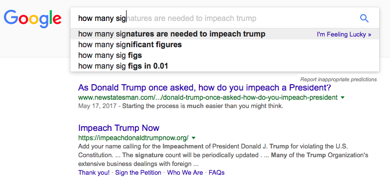 Google suggests searching for 'how many signatures are needed to impeach trump'