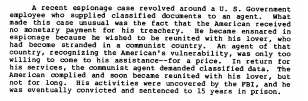 Read the FBI's guide to how Soviet spies recruit American