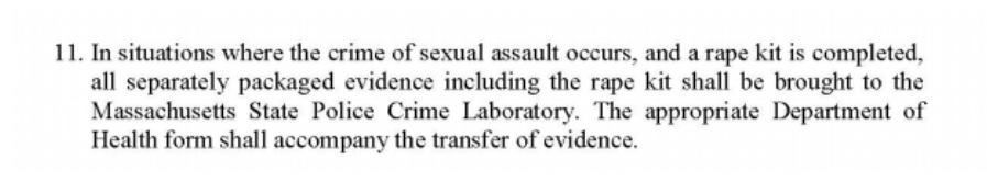 ... this procedure is in place, the handbook provides no guidelines on how  quickly rape kits should be submitted to the lab, tested, or uploaded into  CODIS.