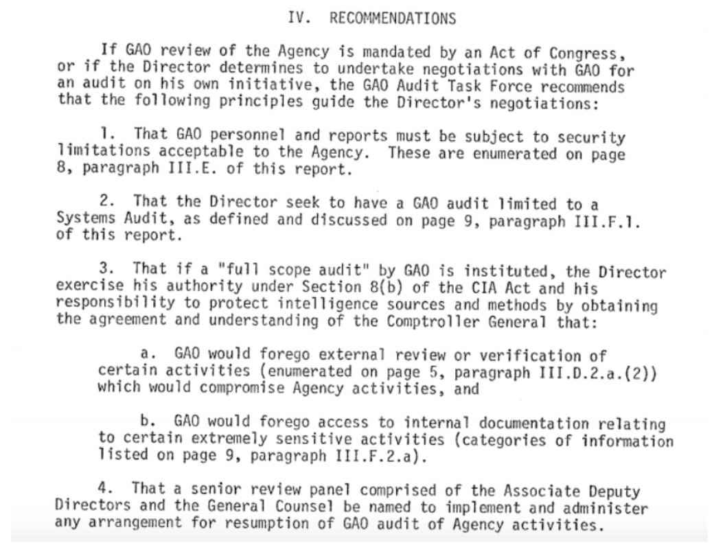 CIA's 60 year war with the Government Accountability Office