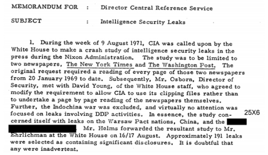 Nixon study resulted in CIA creating a database of intelligence
