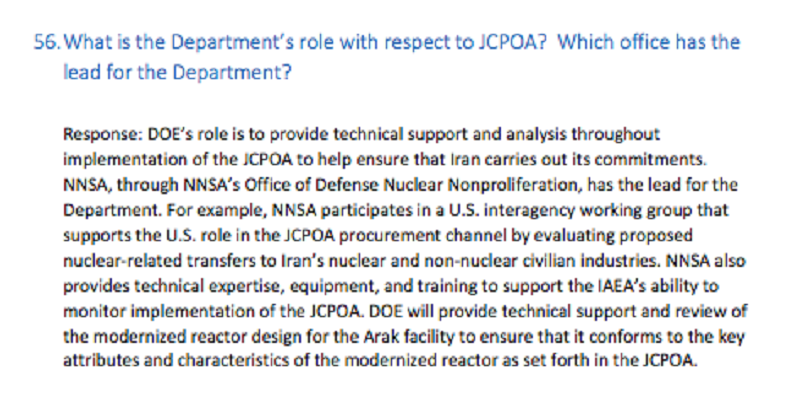 Department of Energy on Iran deal
