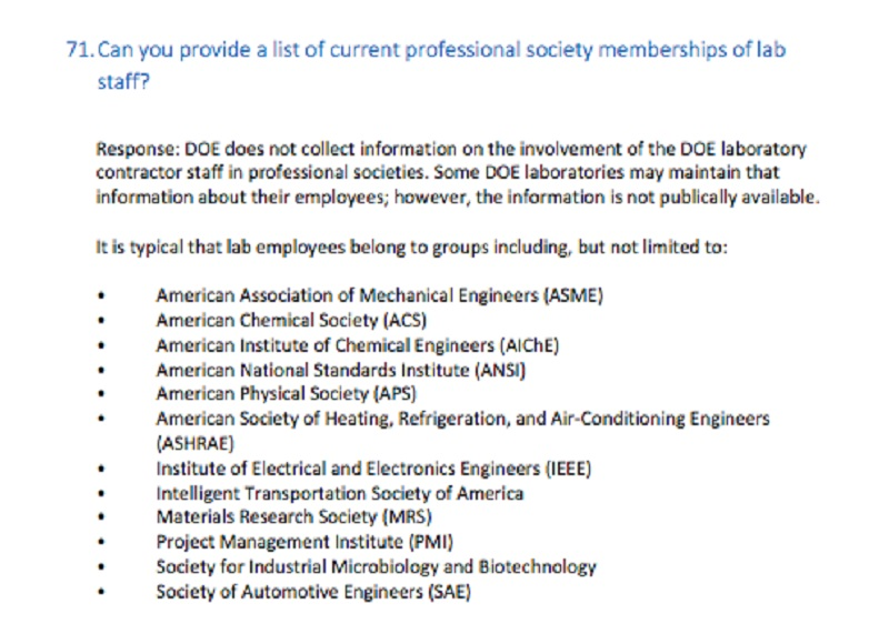 The Department of Energy response to a question about lab staff affiliations