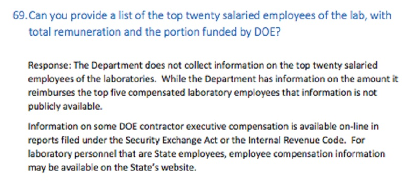 The Department of Energy said some laboratory employee compensation was not public