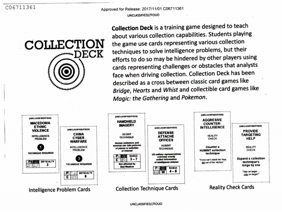 thanks to foia you can kinda play the cia s collectible card game