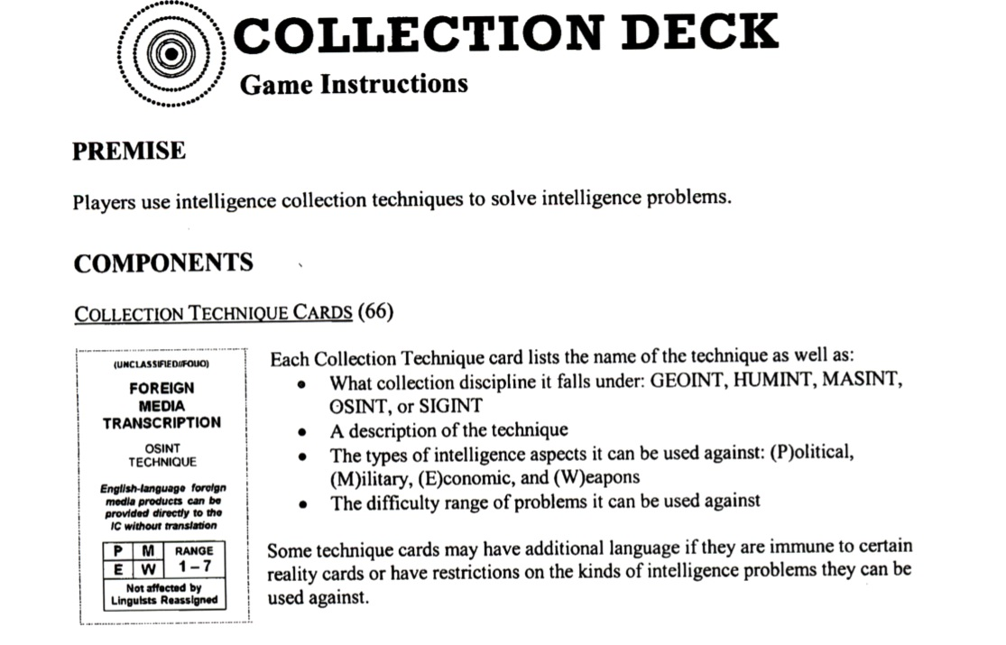 Thanks to foia you can kinda play the cias collectible card and while theres nothing to stop you from printing them out and playing there just one tiny snag several of the cards depicting intelligence techniques buycottarizona Image collections