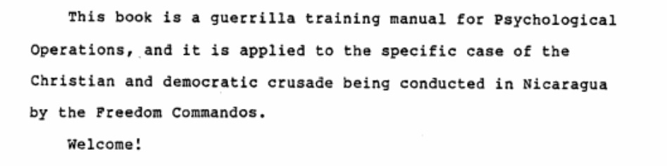 Cia Releases Full Contras Manual On Psychological Operations In