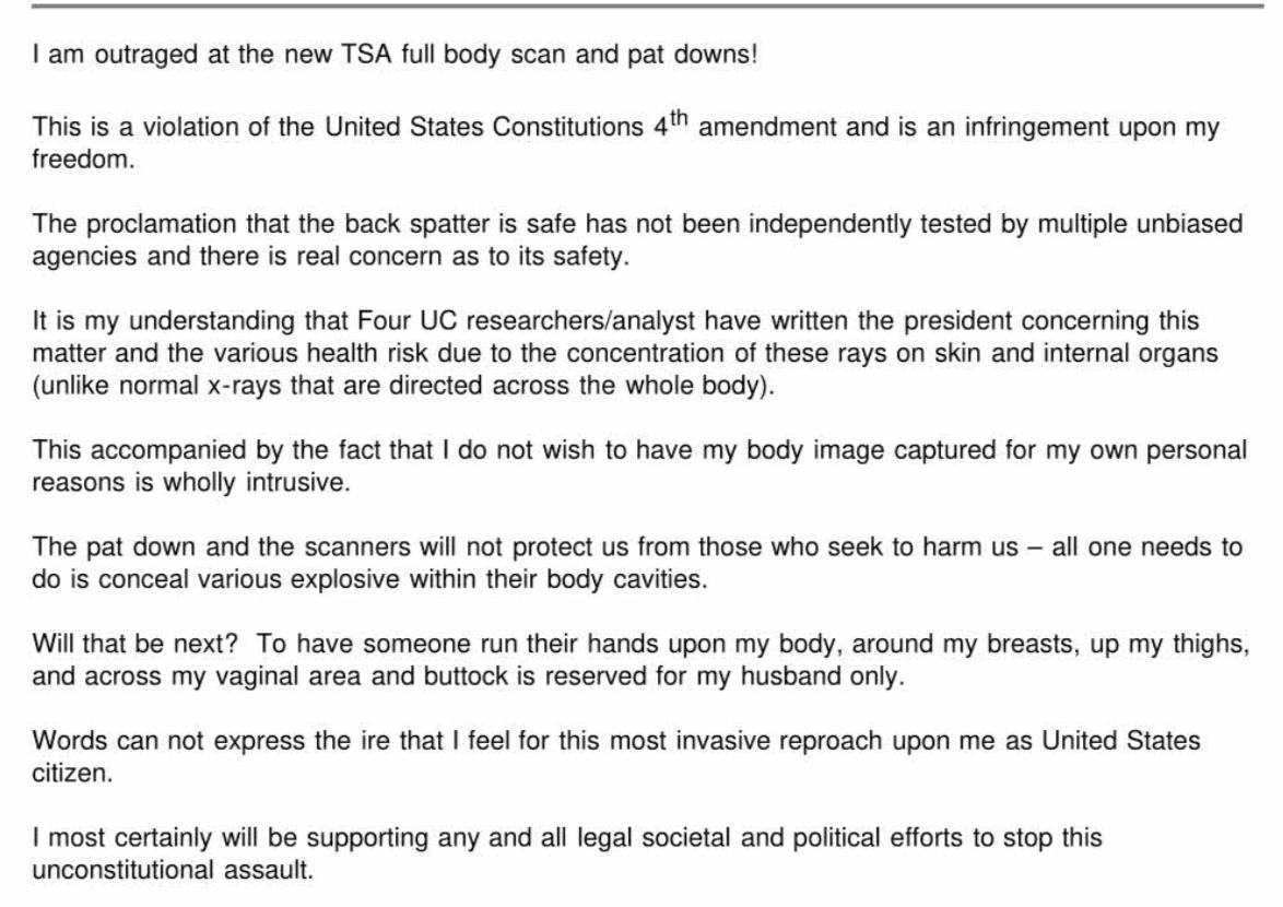 TSA complaint regarding disabilities