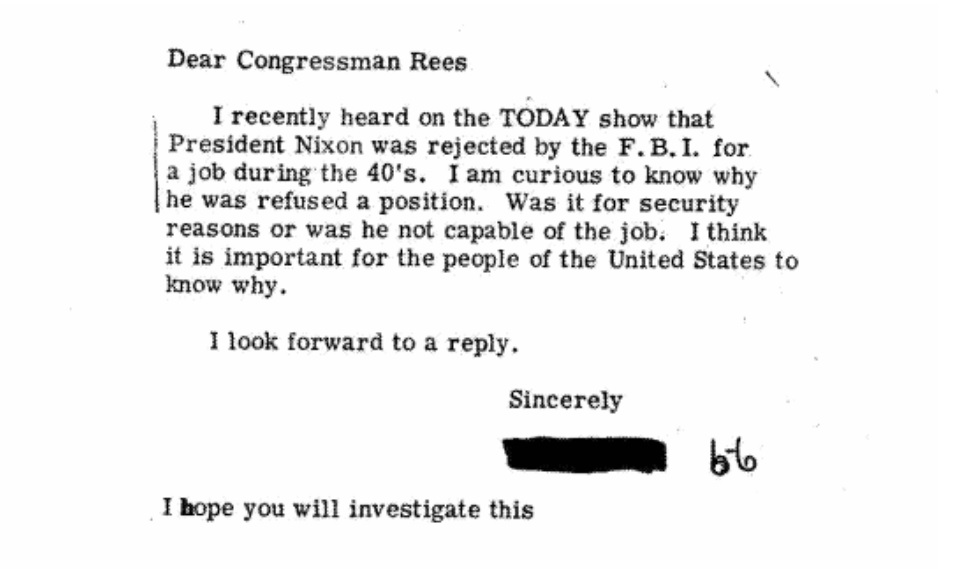 Why was Richard Nixon's FBI application rejected? • MuckRock