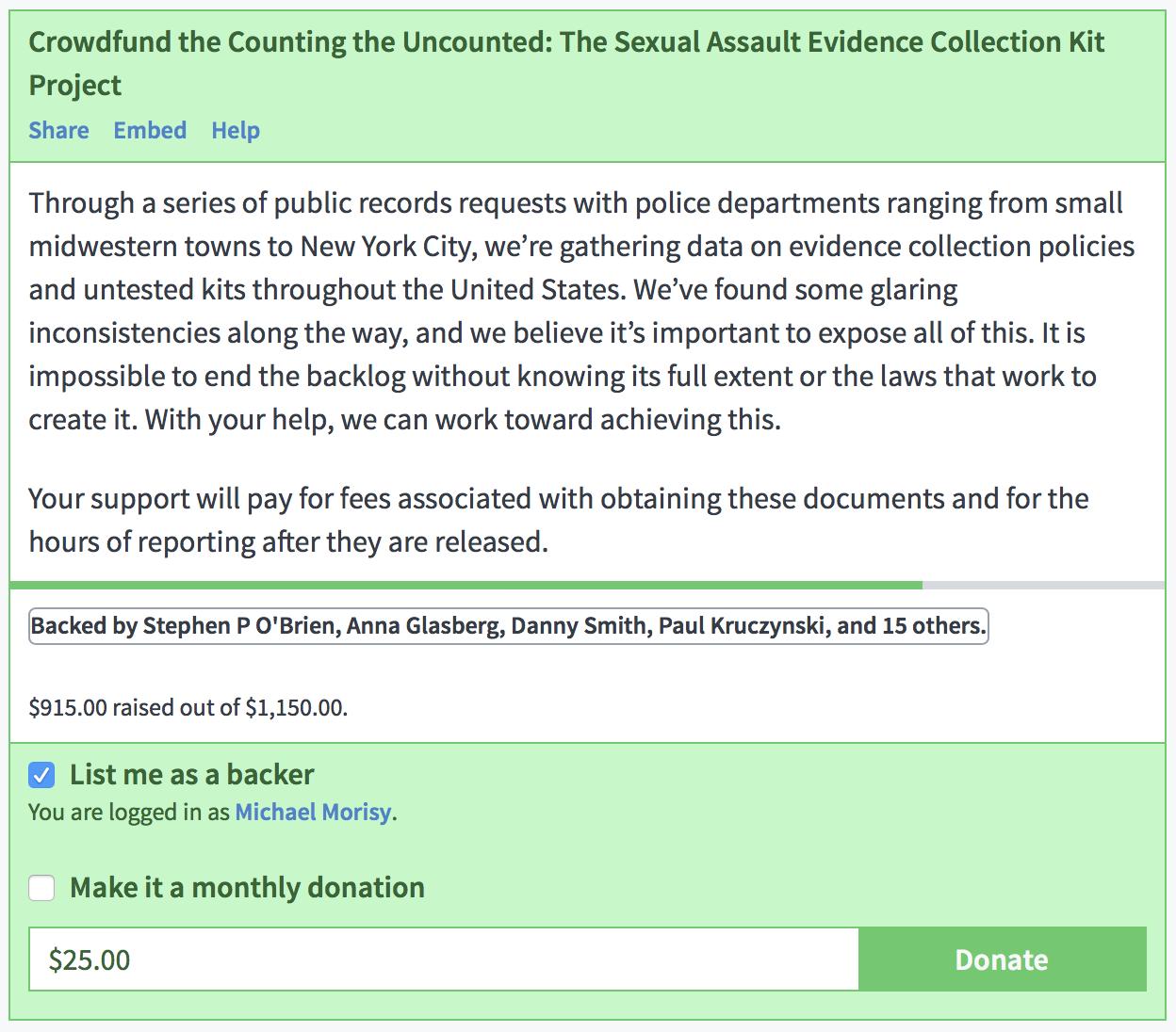 MuckRock Crowdfunding Widget