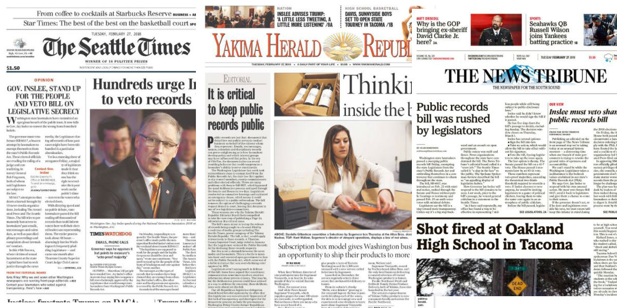 Washington State front page newspaper editorials