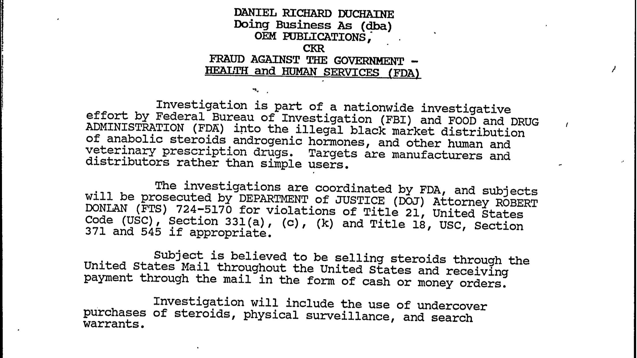 El archivo del FBI sobre el polémico gurú de esteroides Daniel Duchaine Dba