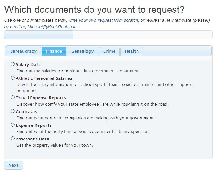 Screenshot of MuckRock's old request filing tool