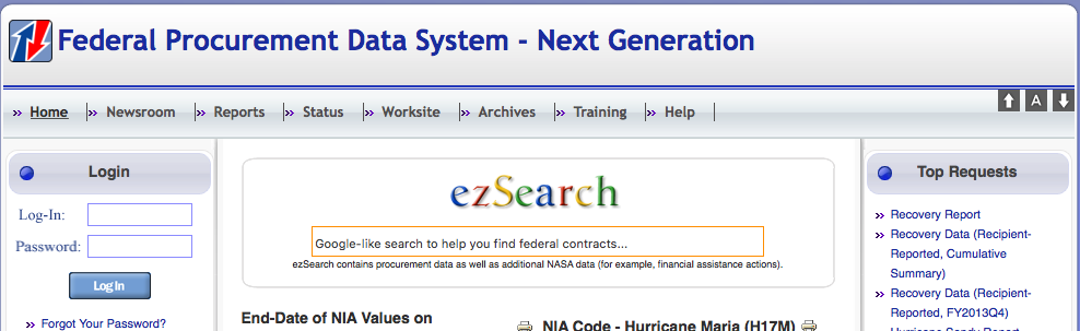 Federal Procurement Data System home page