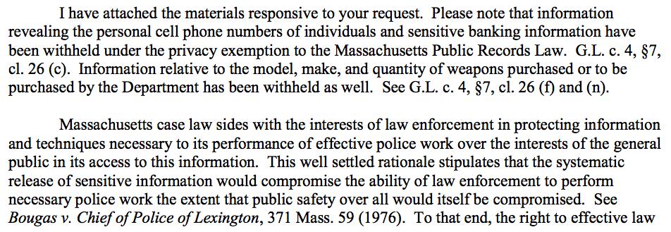 Law enforcement agencies among Massachusetts Public Records