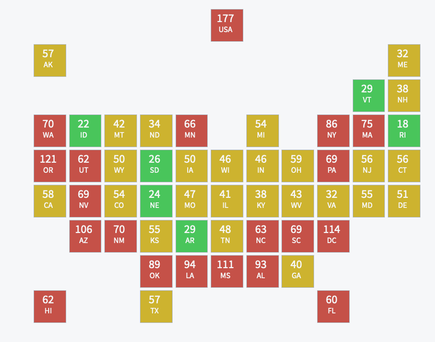 A map displaying average public records response times by state