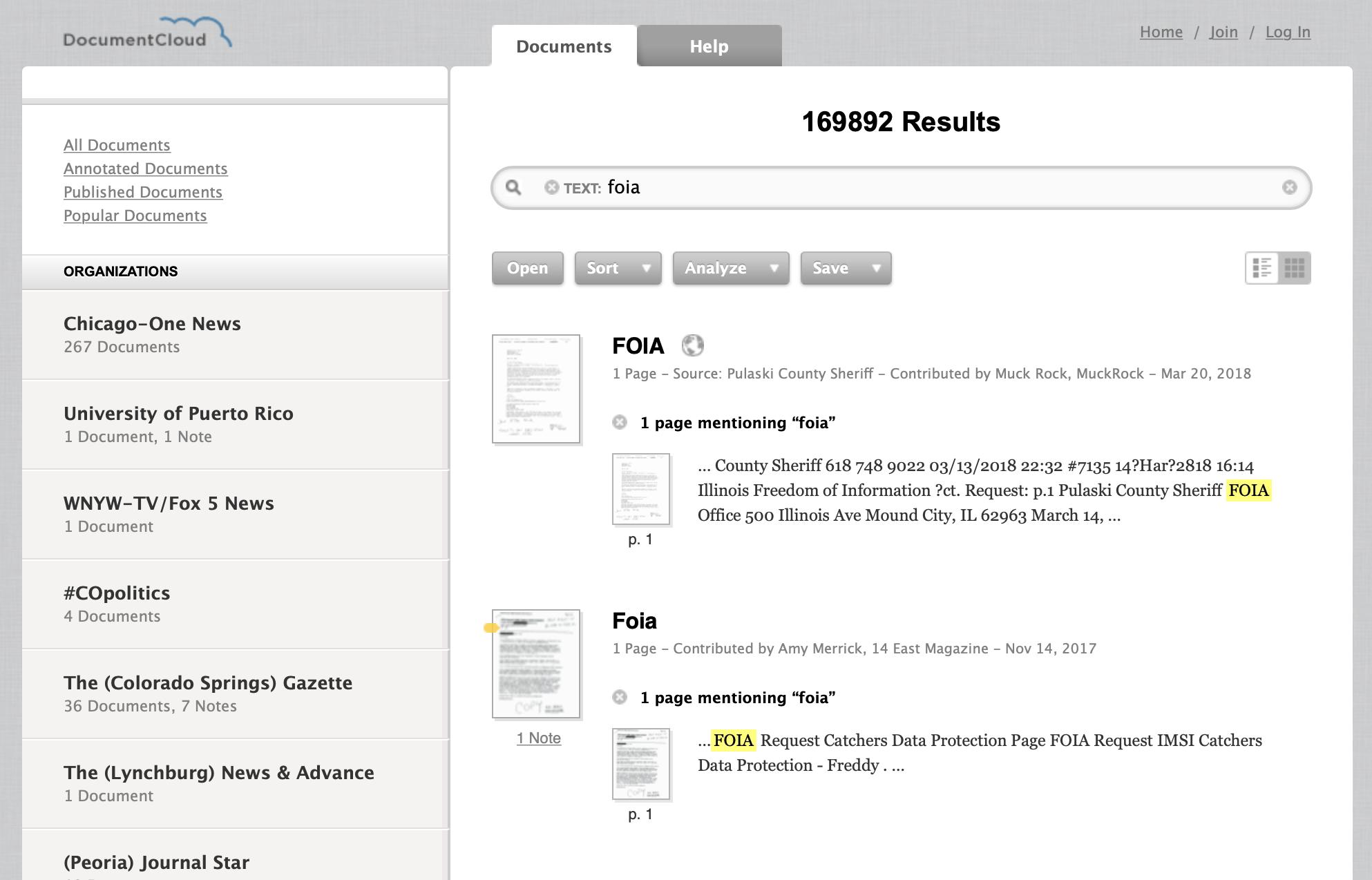 A screenshot of DocumentCloud's search interface