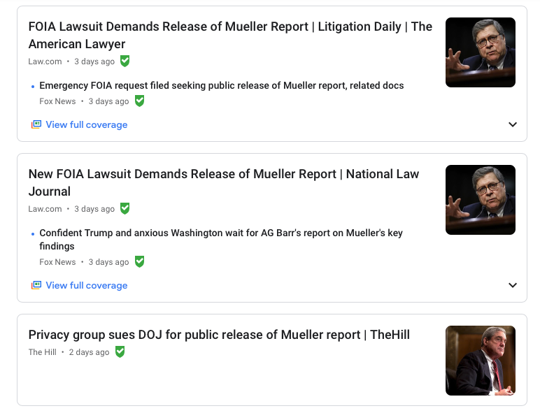 Headlines referencing FOIA lawsuits for the Mueller report