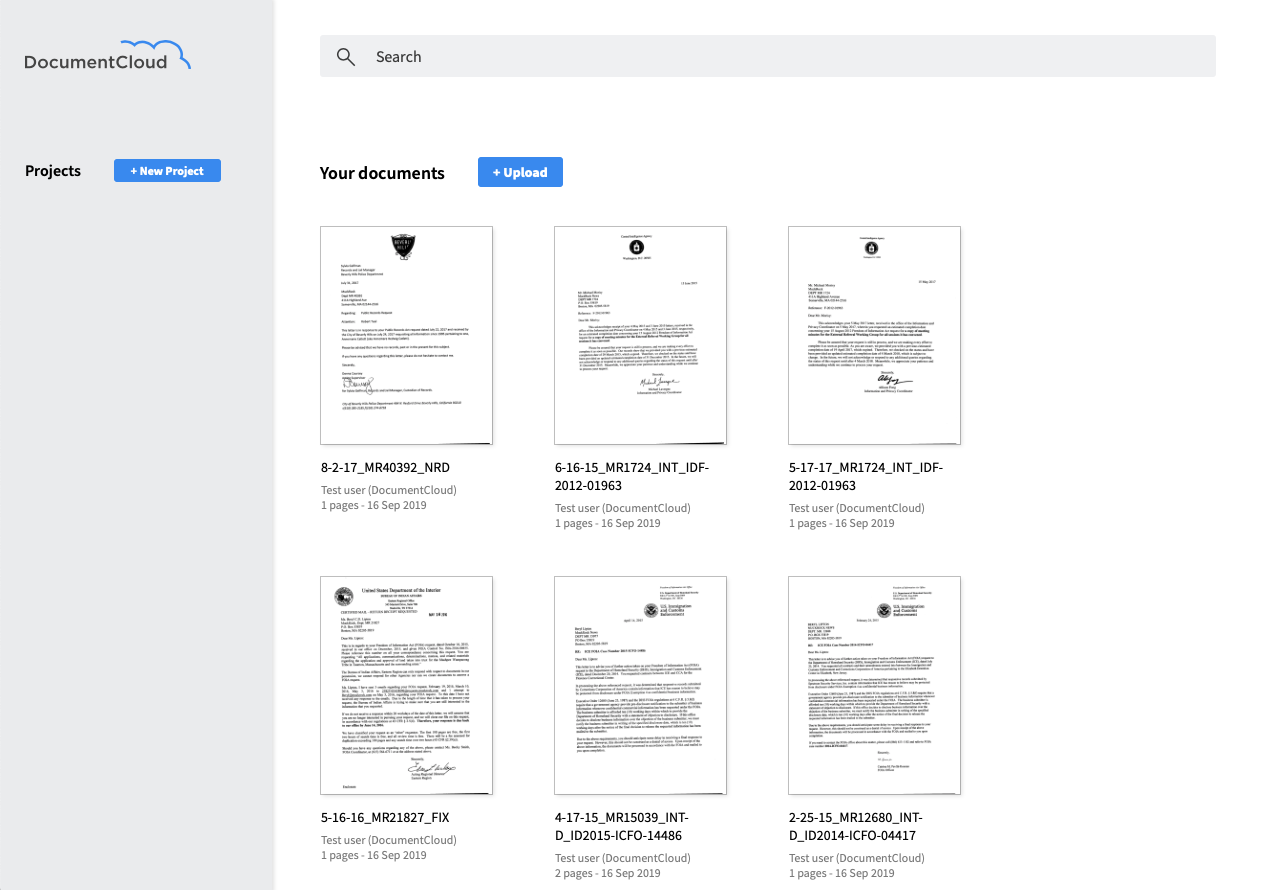 A screenshot of the redesigned DocumentCloud, which provides a cleaner, more modern look