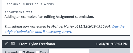 Example of an edited Assignments submission