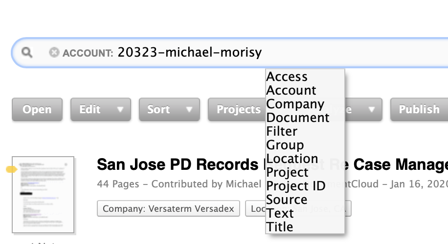 DocumentCloud's current search interface with a sample query