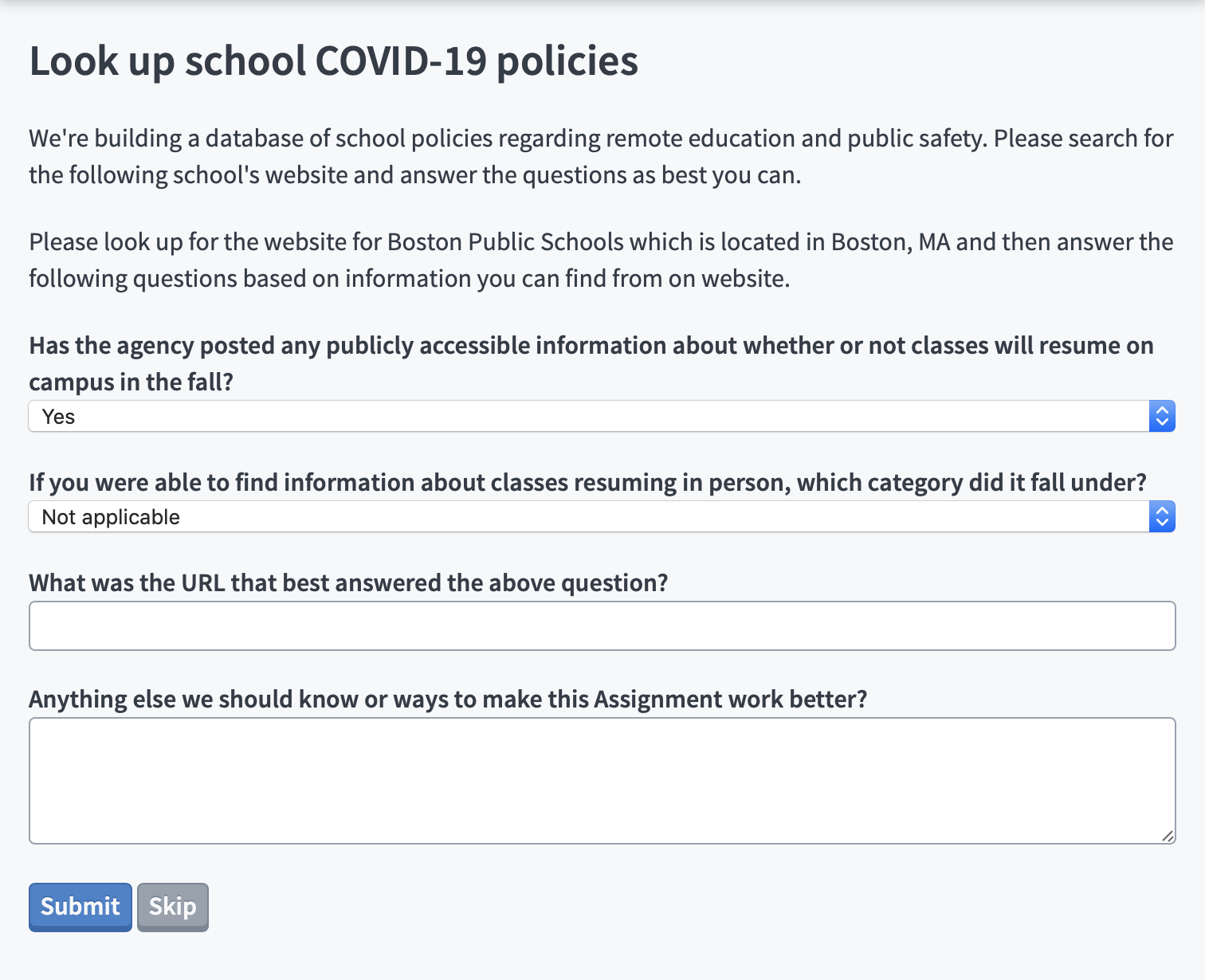 Screenshot of a sample crowdsource asking volunteers to put in information about local schools plans to resume class in the fall