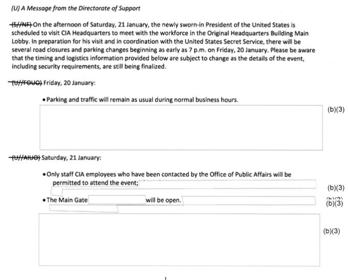 Letter regarding logistics