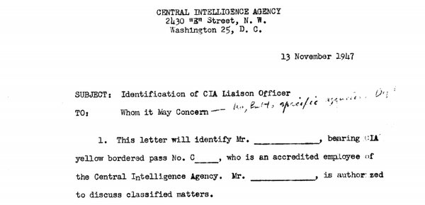 CIA Liaisons and Official Contacts